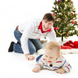 Stock Photo: Christmas family and fir tree, smiling happy parents