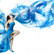Woman dance in blue water dress dissolving in splash. - Stock Photo