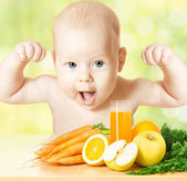 Baby fresh fruit meal and juice glass. Concept: healthy vitamin — Stock Photo