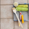 Repair tools over stone floor tile background. Copy space. — Stock Photo