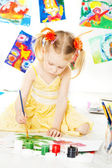 Creative child drawing with brush gouache colors — Stock Photo