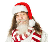 Christmas old man with beard in red hat, Santa Claus — Stock Photo