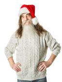 Noël vieillard à barbe au chapeau rouge, santa claus — Photo