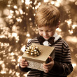 Stock Photo: Child holding gift box, boy in vintage style.