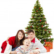 Christmas family funy baby under fir tree over white background — Stock Photo