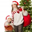 Christmas child presents, Santa Claus grandfather holding bag in front fir tree — Stok fotoğraf