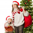 Christmas child presents, Santa Claus grandfather holding bag in front fir tree — Stock fotografie