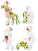 Baby in easter bunny costume with carrot basket, kid girl rabbit hare — Stock Photo