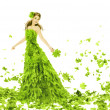 Fantasy beauty, fashion woman in seasons spring leaves dress. Creative beautiful girl in green summer gown, over white background — Stock Photo #42286813