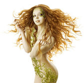 Sexy woman fantasy hairstyle, sensual fashion tattoo makeup, naked beauty girl with long hairs and floral body art — Stock Photo