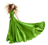 Woman in beauty fashion green gown, long evening dress — Stock Photo