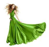 Kadın güzellik moda yeşil elbise, uzun Abiye — Stok fotoğraf