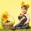 Easter little girl, kid holding bunny rabbit basket eggs — Stock Photo