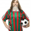 Senior soccer sport activity. Old man football fan with ball, sportsman isolated white background — Stock Photo #47319765