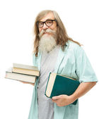 Senior in glasses with books. Old man education, elder with beard isolated white background — Stock Photo