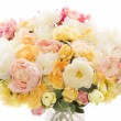 Flowers bouquet peony, pastel floral colors over white background — Stock Photo #49337557