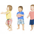 Children group playing toys. Small Kids and Baby isolated white background — Stock Photo #50977479