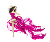 Woman dancing in fluttering dress, fashion model dancer with waving fabric, isolated white background — Stock Photo