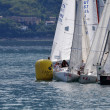 Boats cramming at a buoy of Trofeo Gorla 2012 — Stock Photo