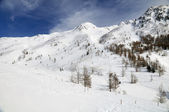 Snowy mountain landscape — Stock Photo