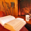 Book on an armchair in winter with fireplace, shallow DOF — Stock Photo