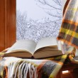 Book on a chair in winter, near the window — Stock Photo