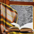 Stock Photo: Book on chair in winter