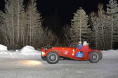A red Jaguar SS100 at 2013 Winter Marathon — Stock Photo