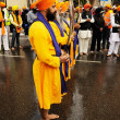 Sikh devotee show ritual swords at 2013 Baisakhi festival in Brescia — Stock Photo