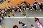 Sikh devotee performing at 2013 Baisakhi festival in Brescia — Stock Photo