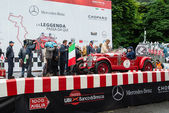 Red OM 665 Superba, 1929, starts the 1000 Miglia — Foto Stock
