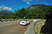 White Porsche 550 spider in Tesimo, Passo delle Palade — Stock Photo