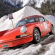 Classic car taking part to the 2014 WinteRace regularity race in Italian Dolomiti — Stock Photo #42871785