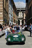En grön lotus elva s2 le mans tar del i 1000 miglia klassiska bil ras på 15 maj, 2014 i brescia. bilen byggdes 1957 — Stockfoto