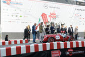 A red Giannini 750 S Barchetta starts the 1000 Miglia classic car race on May 15, 2014 in Brescia. This car was built in 1937 — Stock Photo