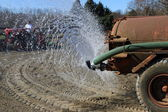 Watering of the soil in the handling — Stock Photo