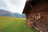 Hut on Seiser Alm — Stock Photo