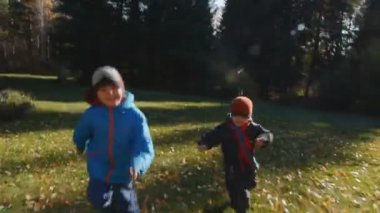 Two little boys playing on the park — Stock Video