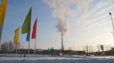 Smoke billows from factory, environmental pollution concept. — Stock Video