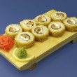 Traditional Japanese sushi on wooden plate — Foto de stock #19068097