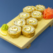 Traditional Japanese sushi on wooden plate — Stock Photo