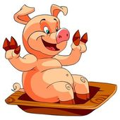 Happy Smiling pig at the trough — Stock Photo
