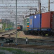 Stock Video: Freight train at very hot day