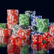 Poker chips and dices — Stockvideo