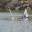 Model yachts competing in the pond — Stock Video