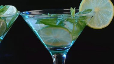 Martini cocktail with lime and mint closeup — Stock Video