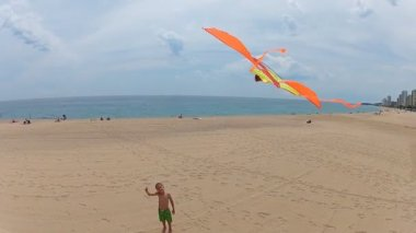 Young boy flying a kite on the beach — Stock video