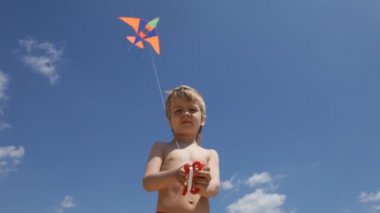 Little boy flying a kite in the sky — Stock Video