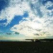 Clouds time lapse on a seashore at a sunset — Vidéo
