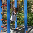 Kid Playing in Public Playground — Stock Video
